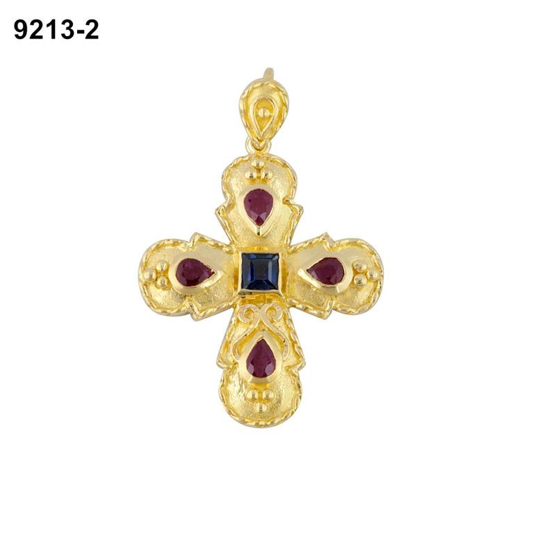 Byzantine Georgios Collection 18 Karat Gold Sapphire and Ruby Cross with Granulation work  For Sale