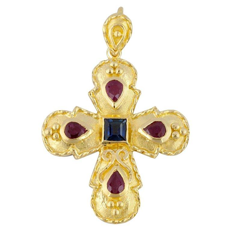 Georgios Collection 18 Karat Gold Sapphire and Ruby Cross with Granulation work  For Sale 1