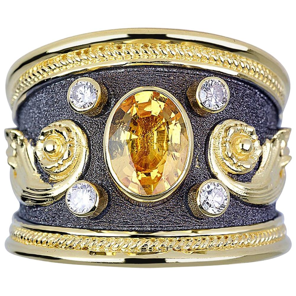 Georgios Collection 18 Karat Gold Yellow Sapphire and Diamond Two-Tone Band Ring