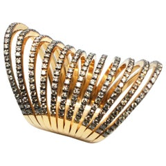 Georgios Collection 18 Karat Rose Gold Chocolate Diamond Two-Tone Long Band Ring