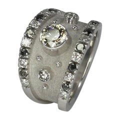 Georgios Collection 18 Karat White Gold Chocolate and White Diamond Ring