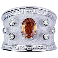 Georgios Collections 18 Karat White Gold Diamond Band Ring with Orange Sapphire