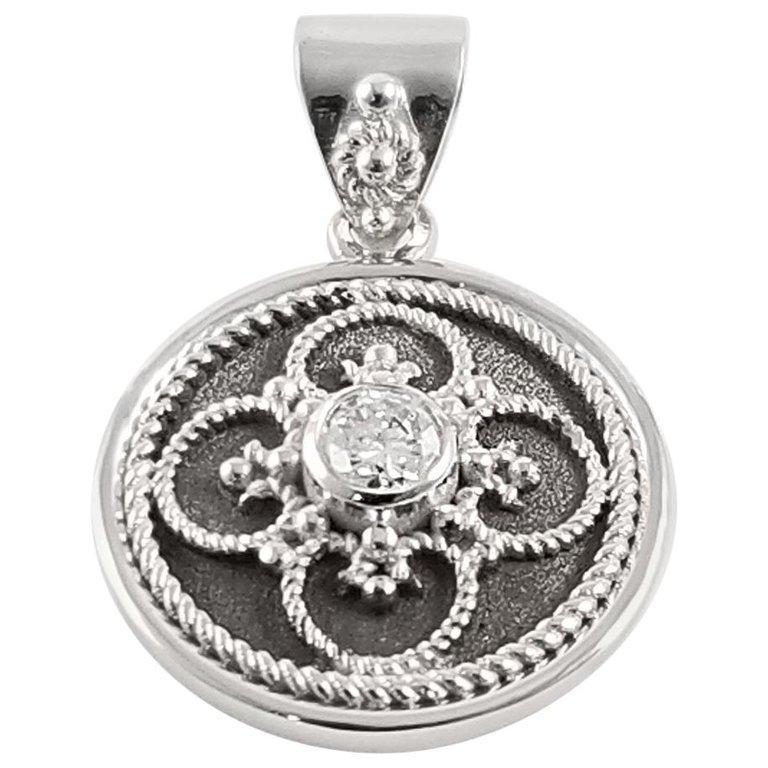Georgios Collection 18 Karat White Gold Diamond Pendant with Granulation work For Sale 2