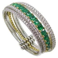 Georgios Collection 18 Karat White Yellow Gold Emerald and Diamond Cuff Bracelet