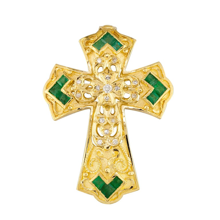 Georgios Collections 18 Karat Yellow Gold Diamond and Emerald Granulated Cross For Sale