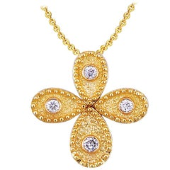 Georgios Collection 18 Karat Yellow Gold Diamond Byzantine Cross and Chain