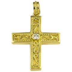 Georgios Collection 18 Karat Yellow Gold Diamond Byzantine Cross with Chain