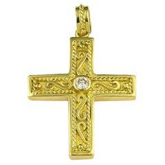 Georgios Collection 18 Karat Yellow Gold Diamond Byzantine Style Intricate Cross