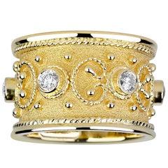 Georgios Collection 18 Karat Yellow Gold Diamond Custom Wide Eternity Band Ring