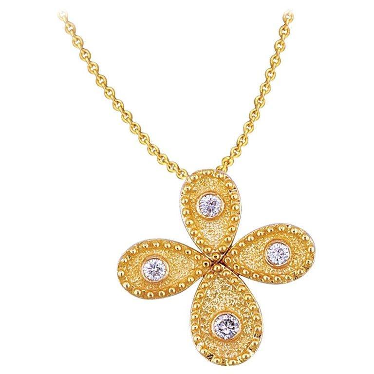 Georgios Collection 18 Karat Yellow Gold Diamond Granulation Cross with Chain  For Sale 1