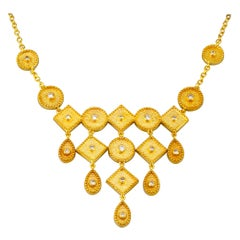 Georgios Collection 18 Karat Yellow Gold Diamond Pendant Drop Chain Necklace