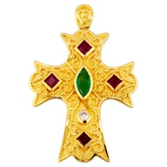 Georgios Collection 18 Karat Yellow Gold Diamond, Ruby Emerald Byzantine Cross