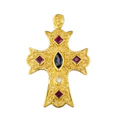 Georgios Collections 18 Karat Yellow Gold Diamond Cross with Sapphires and Rubys