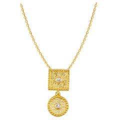 Georgios Collection 18 Karat Yellow Gold Small Diamond Drop Pendant with Chain