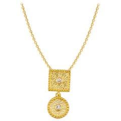 Georgios Collection 18 Karat Yellow Gold Small Diamond Pendant with Granulation