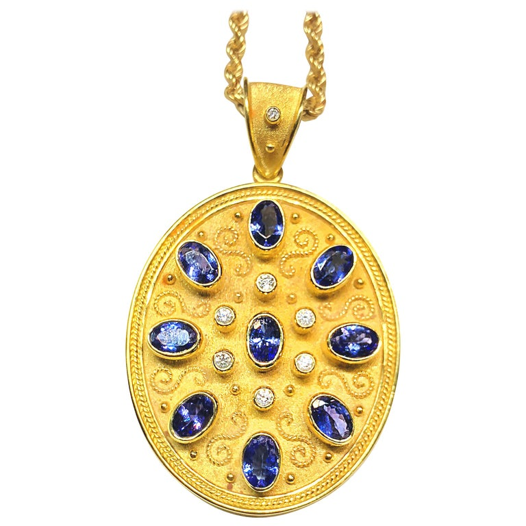 Georgios Collection 18 Karat Yellow Gold Tanzanite and Diamond Necklace Pendant For Sale