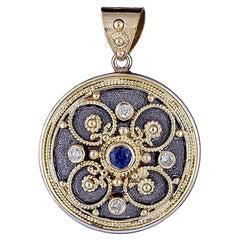 Georgios Collection 18 Karat Yellow Gold Two-Tone Round Sapphire Diamond Pendant
