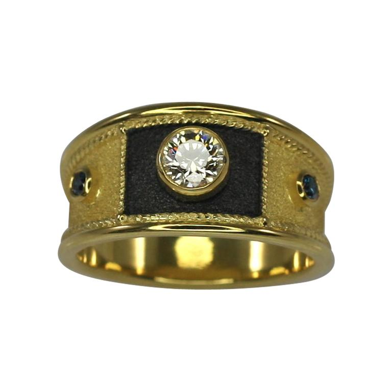 Georgios Collections   18 Karat Yellow Gold and Black Rhodium Diamond Wide Ring