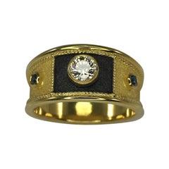Georgios Collections 0.44 Carat Diamond Yellow Gold and Black Rhodium Ring