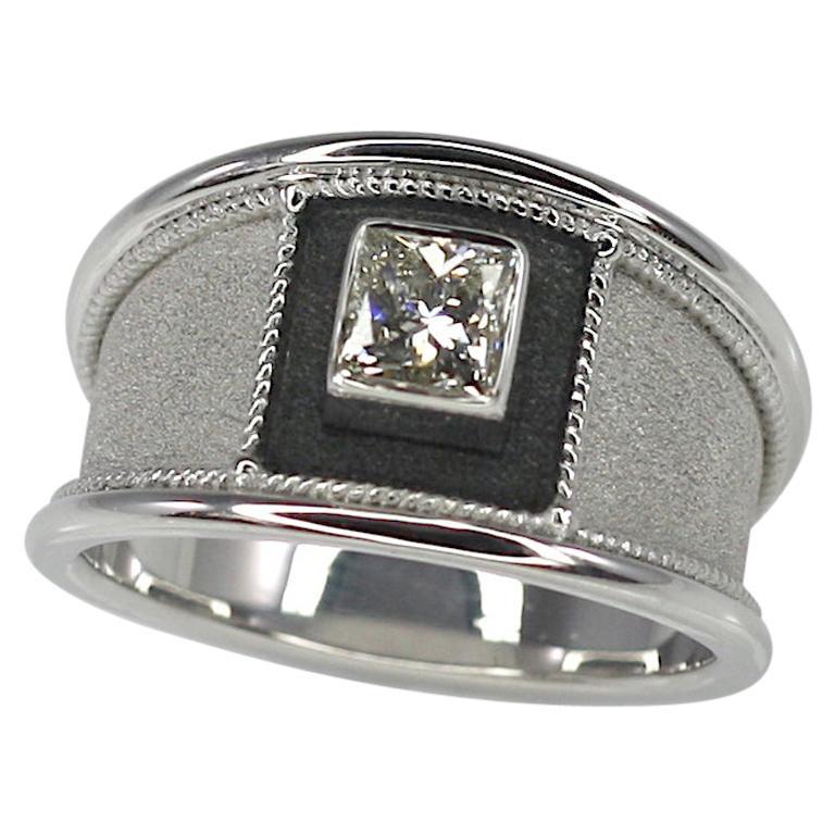 Georgios Collections 18 Karat White Gold and Black Rhodium Diamond Wide Ring