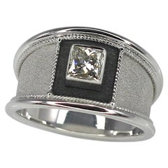 Georgios Collections 0.75 Carat Princess Cut Diamond Gold and Black Rhodium Ring