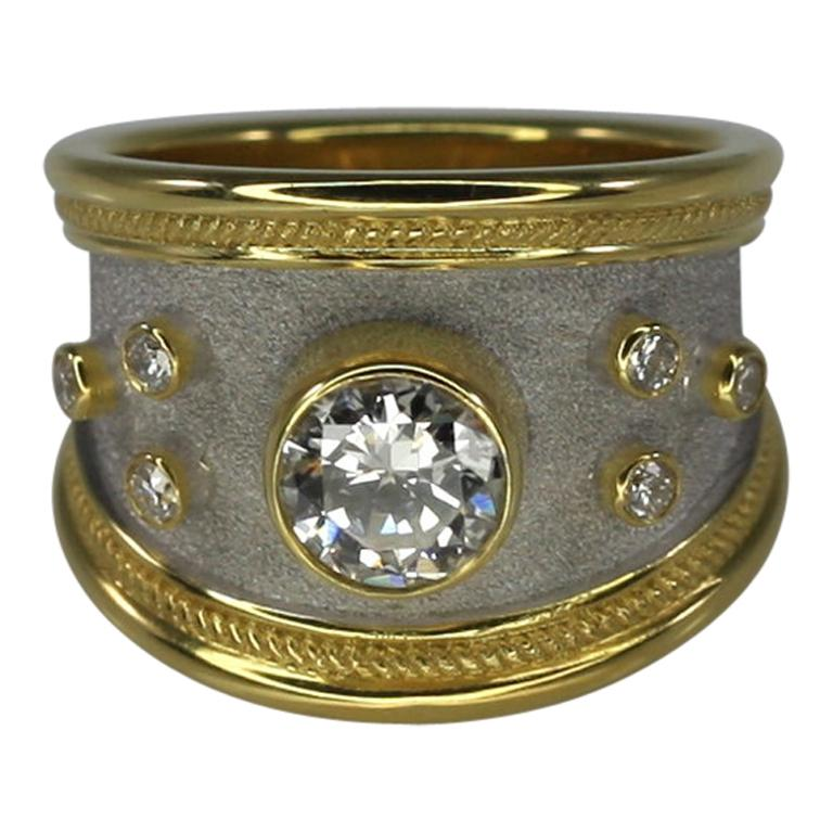 Georgios Collections 18 Karat Yellow Gold Diamond Two-tone Wide Band Ring