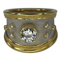 Georgios Collections 0.95 Carat Diamond Ring in 18 Karat Yellow Gold and Rhodium