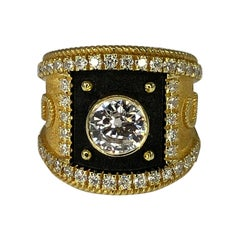 Georgios Collections 18 Karat Diamond Solitaire Two Tone Ring with Black Rhodium