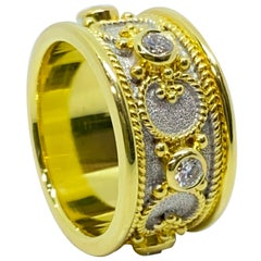 Georgios Collections 18 Karat Gold and Rhodium Diamond Two-Tone Band Ring