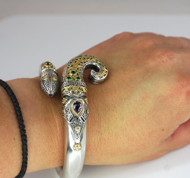 Georgios Collections 18 Karat Gold and Silver Citrine Amethyst Diamond Bracelet For Sale 1