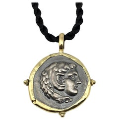 Georgios Collections 18 Karat Gold and Silver Coin Pendant Necklace of Hercules