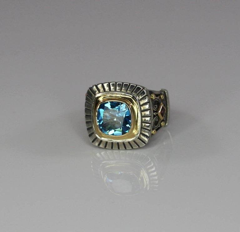 Georgios Collections 18 Karat Gold and Silver Sky Blue Topaz Solitaire Band Ring For Sale 5