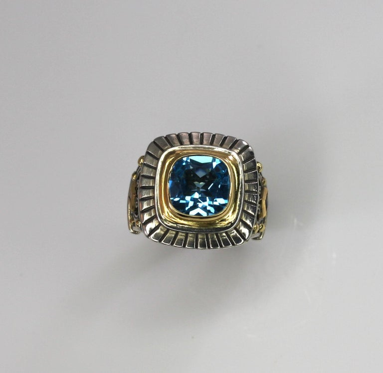 Georgios Collections 18 Karat Gold and Silver Sky Blue Topaz Solitaire Band Ring For Sale 10