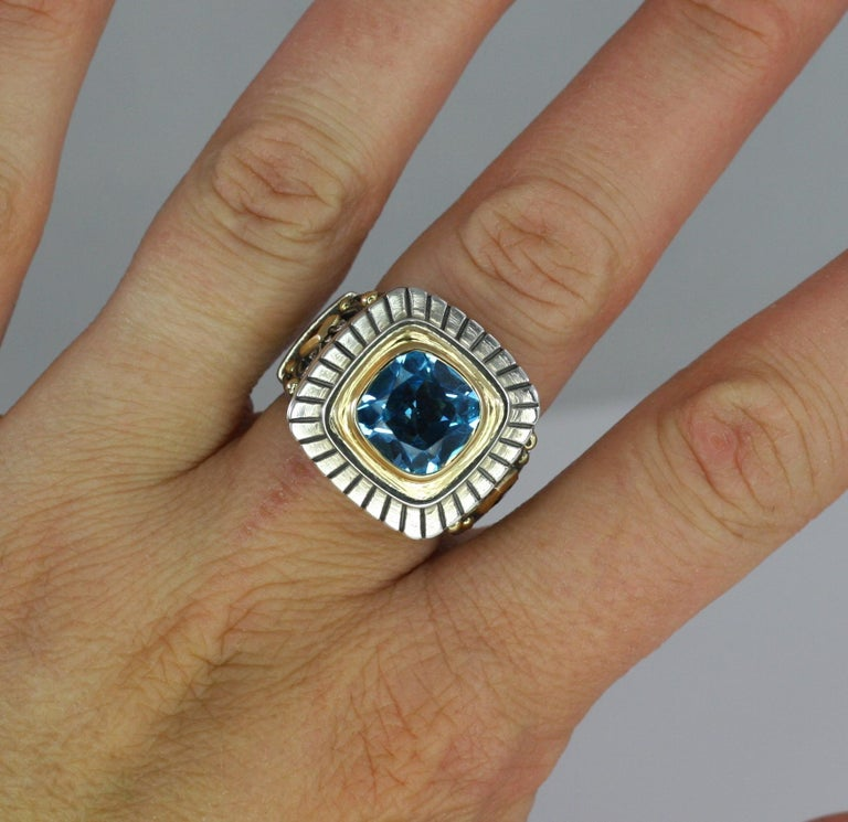 Cushion Cut Georgios Collections 18 Karat Gold and Silver Sky Blue Topaz Solitaire Band Ring For Sale