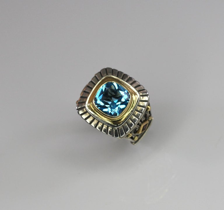 Contemporary Georgios Collections 18 Karat Gold and Silver Sky Blue Topaz Solitaire Band Ring For Sale