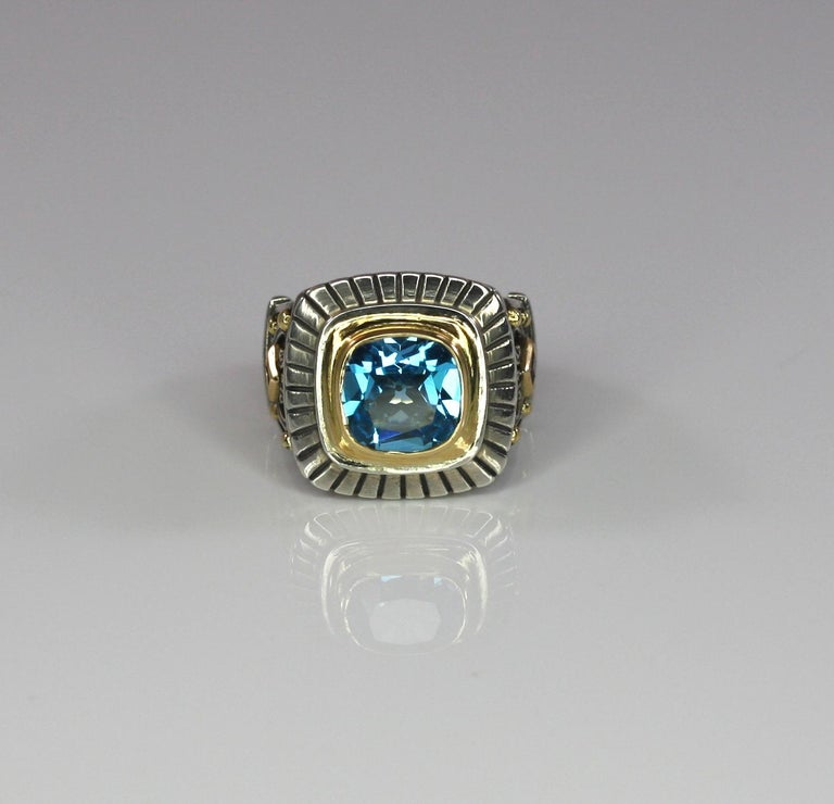 Georgios Collections 18 Karat Gold and Silver Sky Blue Topaz Solitaire Band Ring In New Condition For Sale In Astoria, NY