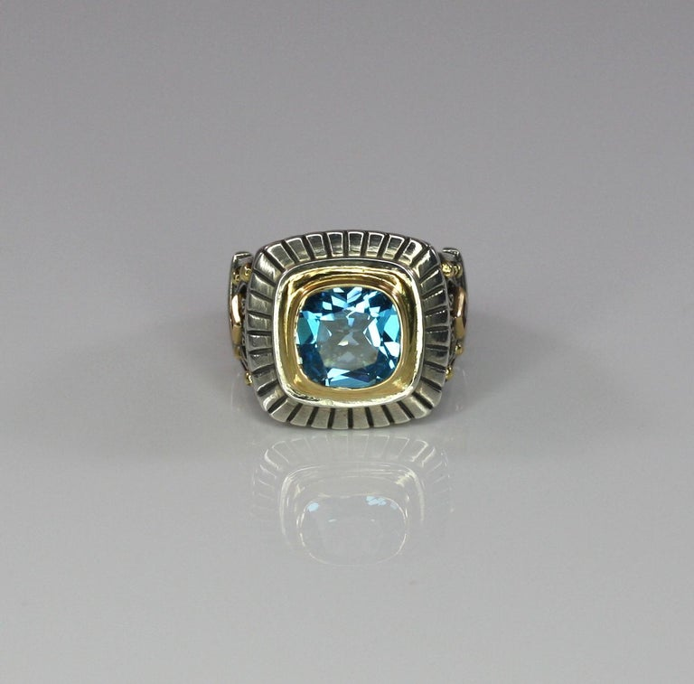 Georgios Collections 18 Karat Gold and Silver Sky Blue Topaz Solitaire Band Ring For Sale 3