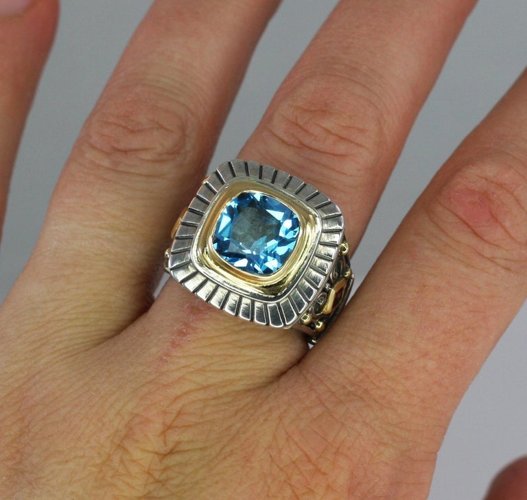 Georgios Collections 18 Karat Gold and Silver Sky Blue Topaz Solitaire Band Ring For Sale 11