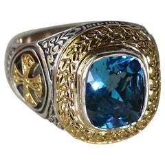 Georgios Collections 18 Karat Gold and Silver Cross Ring with Sky Blue Topaz