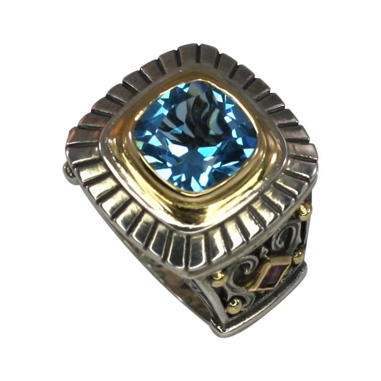 Georgios Collections 18 Karat Gold and Silver Sky Blue Topaz Solitaire Band Ring For Sale