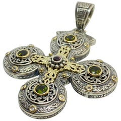 Georgios Collections 18 Karat Gold and Silver Diamond Sapphire Tourmaline Cross