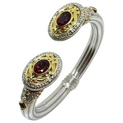 Georgios Collections 18 Karat Gold and Silver Red Garnet and Sapphire Bracelet