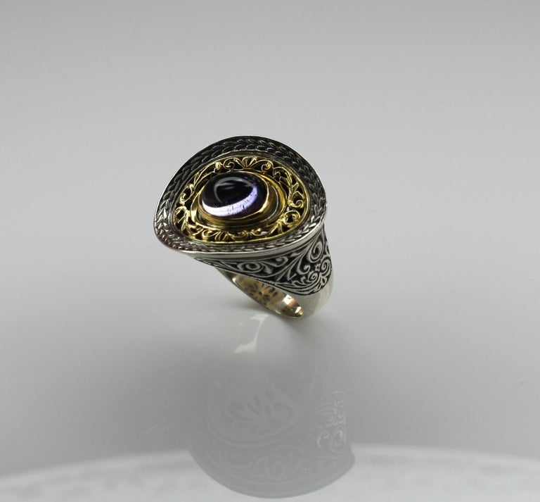 Georgios Collections 18 Karat Gold and Silver Ring with Amethyst For Sale 6
