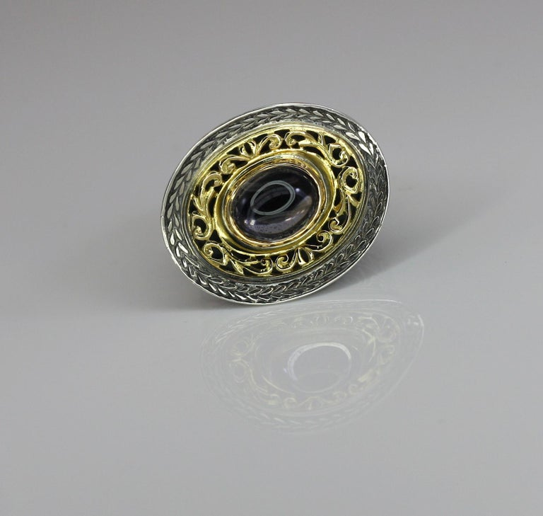 Byzantine Georgios Collections 18 Karat Gold and Silver Ring with Amethyst For Sale