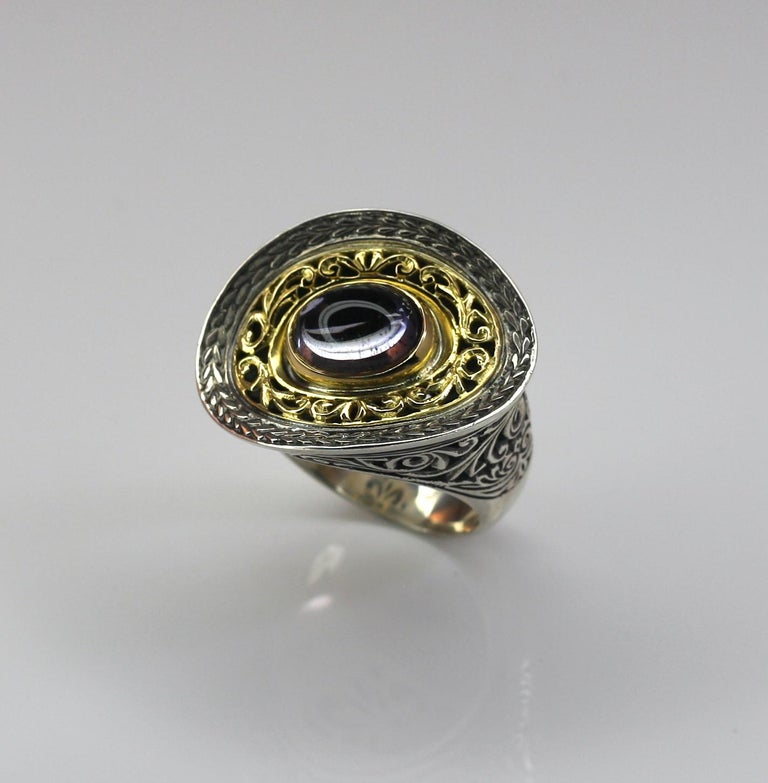Georgios Collections 18 Karat Gold and Silver Ring with Amethyst In New Condition For Sale In Astoria, NY
