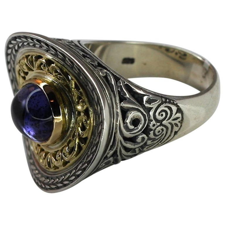 Georgios Collections 18 Karat Gold and Silver Ring with Amethyst For Sale