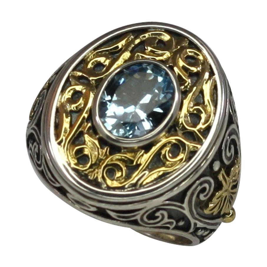 Georgios Collections 18 Karat Gold and Silver Blue Topaz Granulated Band Ring