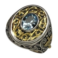Georgios Collections 18 Karat Gold and Silver Ring with Blue Topaz