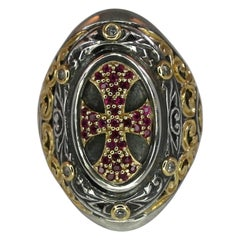 Georgios Collections 18 Karat Gold and Silver Ring with Diamonds and Ruby Cross