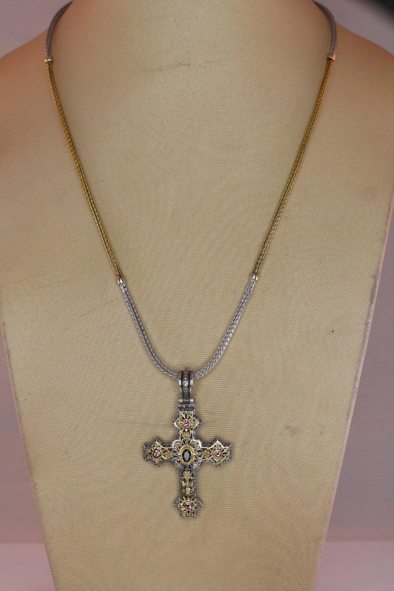 Georgios Collections 18 Karat Gold and Silver Tourmaline Diamond Cross Pendant For Sale 2